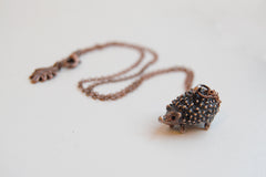 Large Copper Hedgehog Necklace | Cute Hedgehog Charm Necklace | Hedgie Pendant