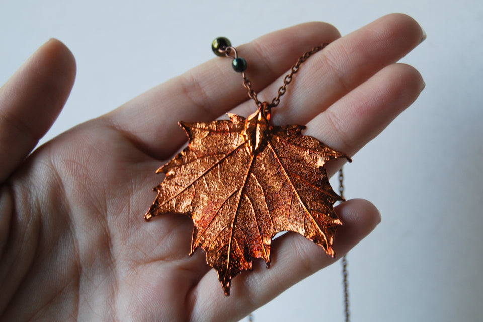 Custom Large Copper Maple Leaf Necklace | REAL Maple Leaf Pendant | Copper Electroformed Pendant | Nature Jewelry - Enchanted Leaves - Nature Jewelry - Unique Handmade Gifts