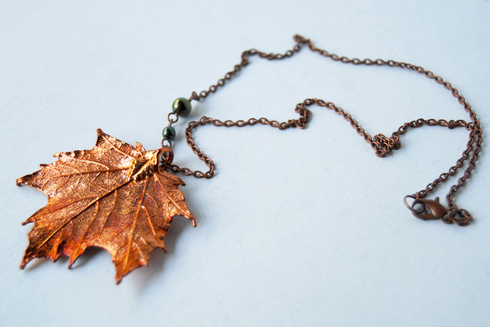 Custom Medium Copper Maple Leaf Necklace | REAL Maple Leaf Electroformed Pendant | Nature Jewelry - Enchanted Leaves - Nature Jewelry - Unique Handmade Gifts