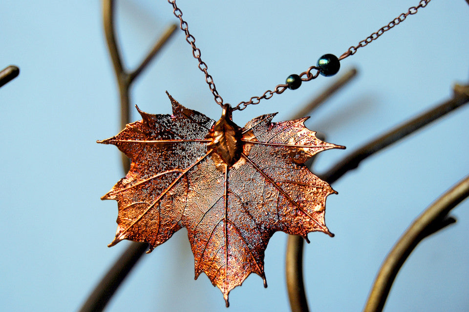 Large Fallen Copper Maple Leaf Necklace | REAL Maple Leaf Pendant | Electroformed Nature Jewelry - Enchanted Leaves - Nature Jewelry - Unique Handmade Gifts