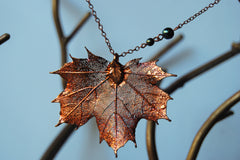 Custom Large Copper Maple Leaf Necklace