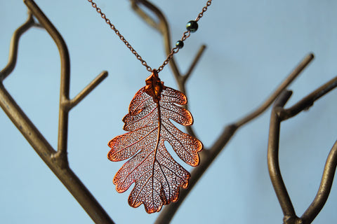 Custom Large Copper Oak Leaf Necklace