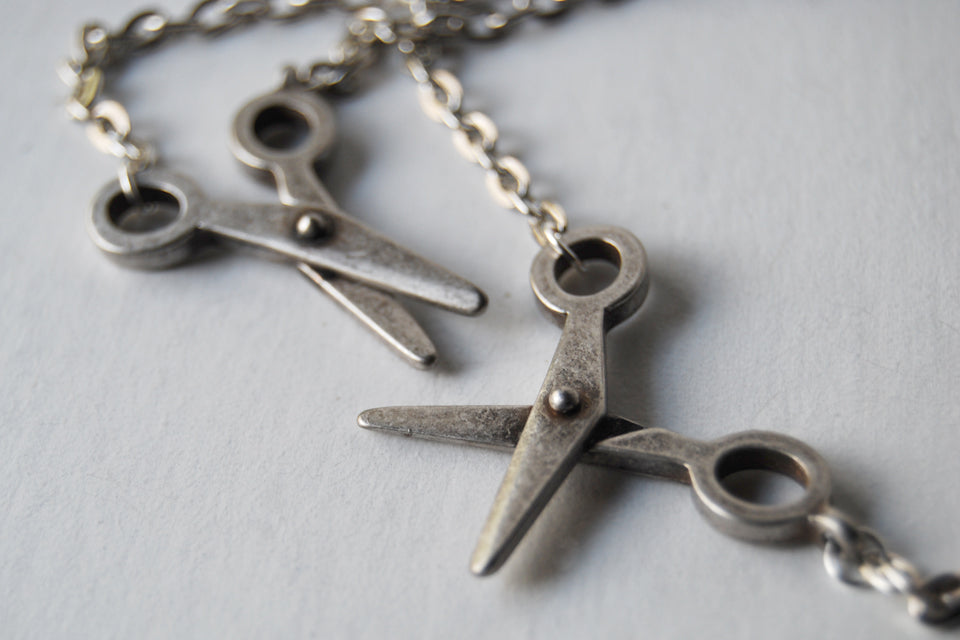 Movable Silver Scissors Necklace | Scissor Charm Necklace | Cute Scissor Jewelry - Enchanted Leaves - Nature Jewelry - Unique Handmade Gifts