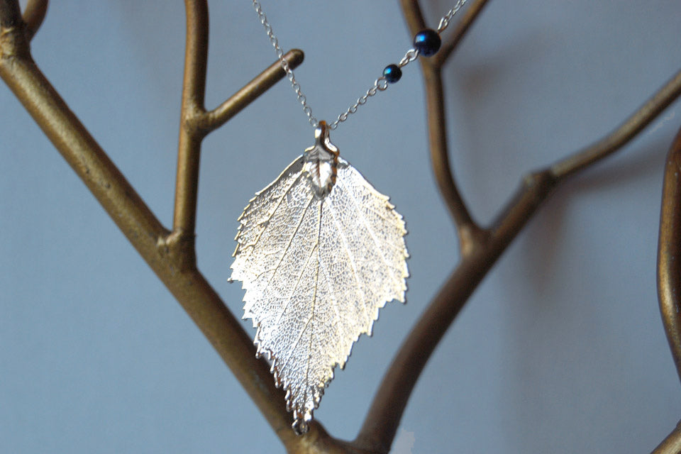 Real birch leaf necklace Electroformed jewelry set Leaves necklace and  earrings