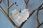 Custom Large Silver Cottonwood Leaf Necklace | REAL Cottonwood Leaf Pendant | Silver Electroformed Pendant | Nature Jewelry - Enchanted Leaves - Nature Jewelry - Unique Handmade Gifts