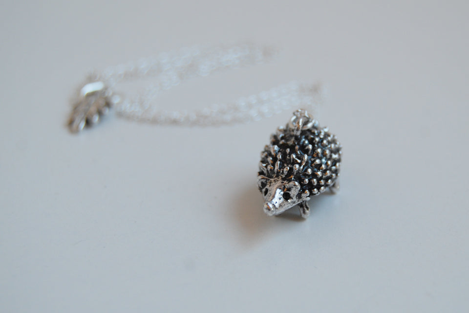 Large Silver Hedgehog Necklace | Cute Hedgehog Charm Necklace | Hedgie Pendant - Enchanted Leaves - Nature Jewelry - Unique Handmade Gifts