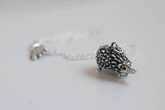 Large Silver Hedgehog Necklace | Cute Hedgehog Charm Necklace | Hedgie Pendant