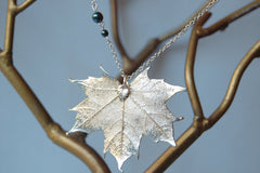 Custom Large Silver Maple Leaf Necklace