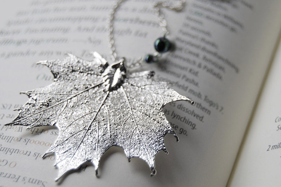 Large Fallen Silver Maple Leaf Necklace | REAL Maple Leaf Pendant | Silver Electroformed Pendant | Nature Jewelry - Enchanted Leaves - Nature Jewelry - Unique Handmade Gifts