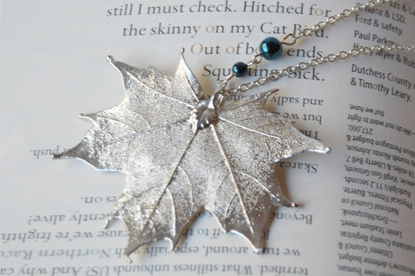 Large Fallen Silver Maple Leaf Necklace | REAL Maple Leaf Electroformed Nature - Enchanted Leaves - Nature Jewelry - Unique Handmade Gifts