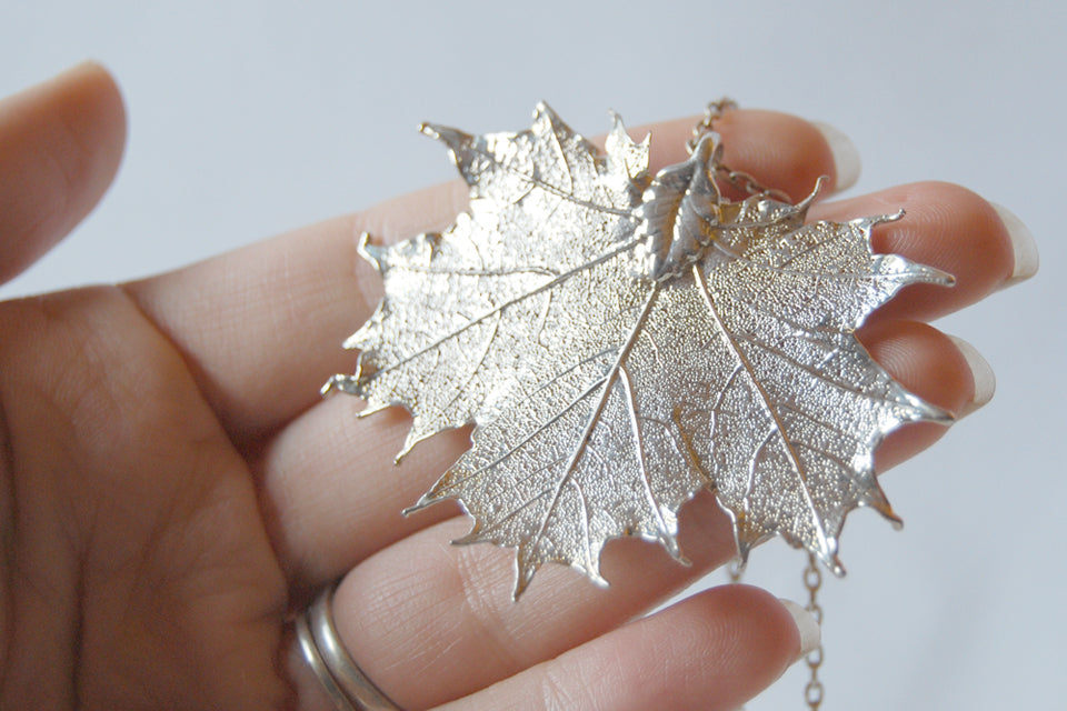 Large fallen silver maple leaf necklace real maple leaf pendant large fallen silver maple leaf necklace real maple leaf pendant silver electroformed pendant nature jewelry aloadofball Image collections
