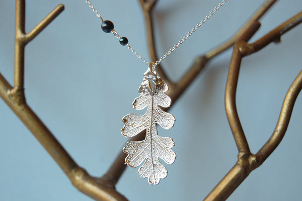 Custom Large Silver Oak Leaf Necklace | REAL Oak Leaf Pendant | Silver Electroformed Pendant | Nature Jewelry - Enchanted Leaves - Nature Jewelry - Unique Handmade Gifts