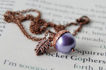 Lilac and Copper Pearl Acorn Necklace | Cute Nature Acorn Charm Necklace | Forest Acorn Necklace | Woodland Pearl Acorn | Nature Jewelry - Enchanted Leaves - Nature Jewelry - Unique Handmade Gifts