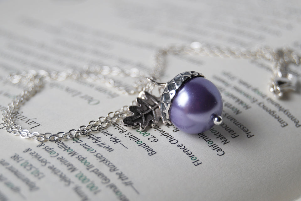 Lilac and Silver Pearl Acorn Necklace | Cute Nature Acorn Charm Necklace | Forest Acorn Necklace | Woodland Pearl Acorn | Nature Jewelry - Enchanted Leaves - Nature Jewelry - Unique Handmade Gifts