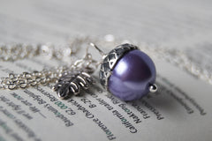Lilac and Silver Pearl Acorn Necklace | Cute Nature Acorn Charm Necklace | Forest Acorn Necklace | Woodland Pearl Acorn | Nature Jewelry