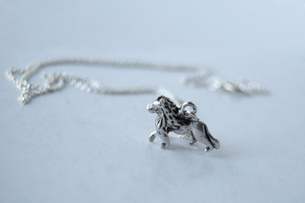 Little Lion Necklace | Silver Lion Charm Necklace | Wild Animal Pendant - Enchanted Leaves - Nature Jewelry - Unique Handmade Gifts