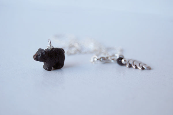 Little Black Bear Necklace | Cute Bear Charm Necklace | Yosemite Black Bear Necklace - Enchanted Leaves - Nature Jewelry - Unique Handmade Gifts