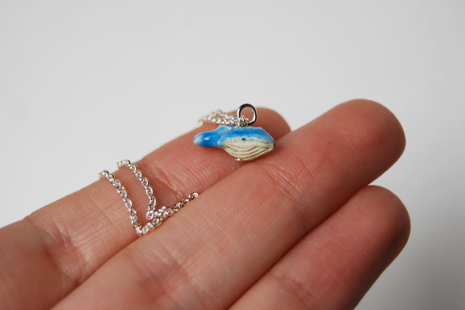 Tiny Blue Whale Necklace - Enchanted Leaves - Nature Jewelry - Unique Handmade Gifts