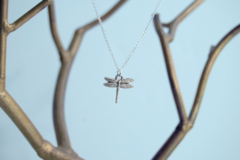 Tiny Silver Dragonfly Necklace - Enchanted Leaves - Nature Jewelry - Unique Handmade Gifts