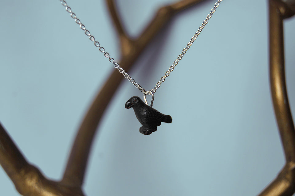 Little Crow Necklace | Black Bird Charm Necklace - Enchanted Leaves - Nature Jewelry - Unique Handmade Gifts