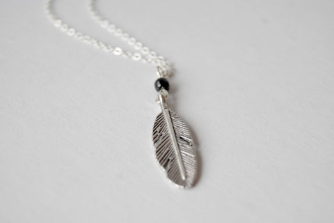 Little Silver Feather Necklace | Woodland Feather Charm Necklace | Feather Jewelry