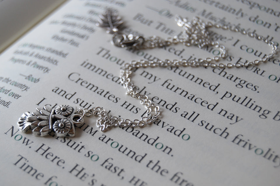 Little Owl Necklace | Woodland Silver Owl Charm Necklace | Fall Jewelry - Enchanted Leaves - Nature Jewelry - Unique Handmade Gifts