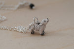 Direwolf Pup Necklace | Cute Wolf Charm Necklace | Handmade Pendant - Enchanted Leaves - Nature Jewelry - Unique Handmade Gifts