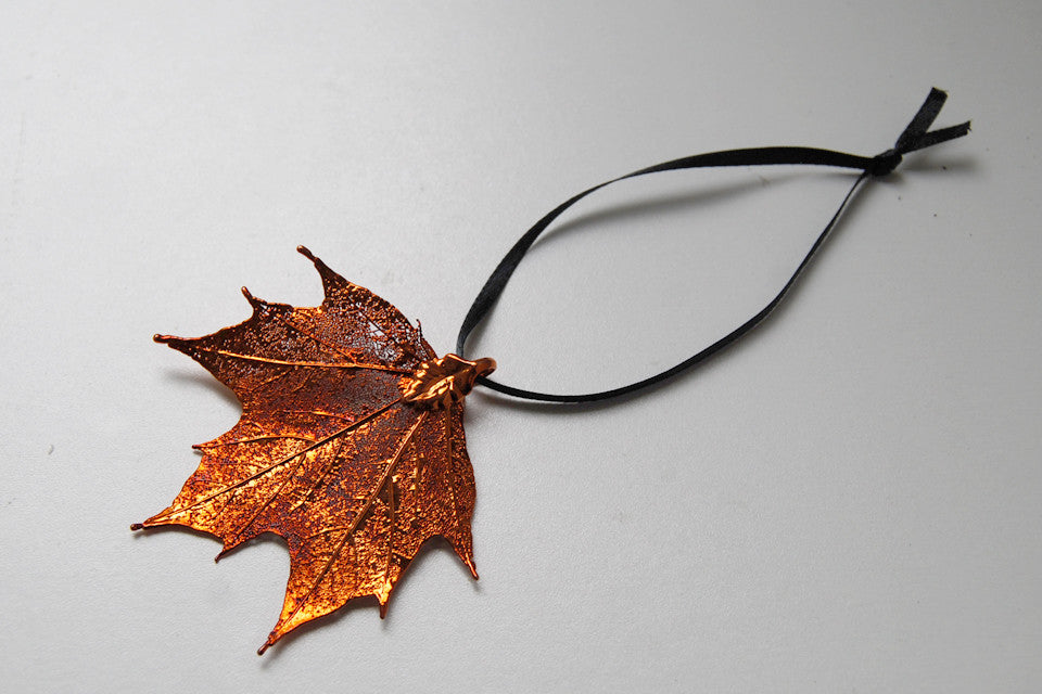 Real Maple Leaf Ornament  | Electroformed Nature | Fall Leaf Ornament | Nature Gift - Enchanted Leaves - Nature Jewelry - Unique Handmade Gifts