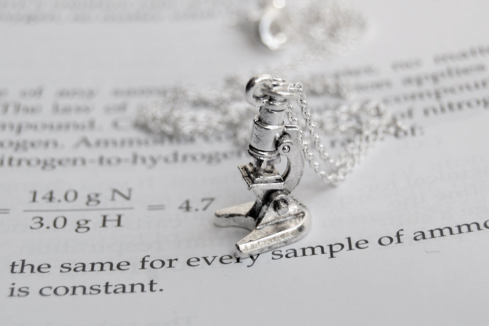 Tiny Silver Laboratory Microscope Necklace - Enchanted Leaves - Nature Jewelry - Unique Handmade Gifts