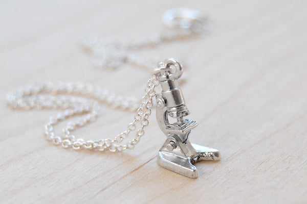 Tiny Silver Laboratory Microscope Necklace - Enchanted Leaves - Nature Jewelry - Unique Handmade Gifts Tiny Silver Laboratory Microscope Necklace | Silver Microscope Charm Necklace | Science Student Pendant