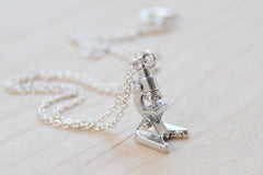 Tiny Silver Laboratory Microscope Necklace