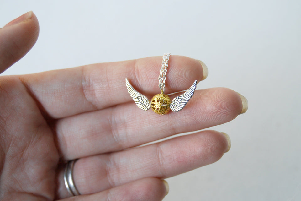 Mini Golden Snitch Necklace | Harry Potter Necklace | Golden Snitch Charm Necklace - Enchanted Leaves - Nature Jewelry - Unique Handmade Gifts