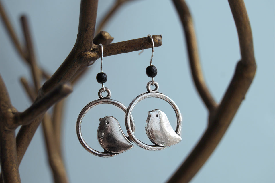 Minimal Silver Bird Earrings | Bird Charm Earrings | Cute Bird Jewelry - Enchanted Leaves - Nature Jewelry - Unique Handmade Gifts