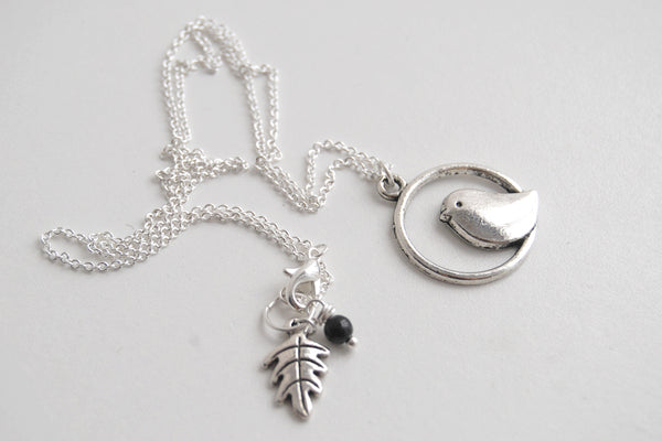 Minimal Silver Bird Necklace | Bird Charm Necklace | Cute Bird Necklace - Enchanted Leaves - Nature Jewelry - Unique Handmade Gifts