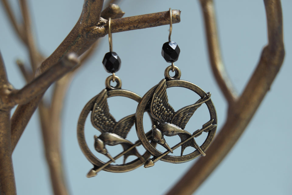 Mockingjay Earrings | Hunger Games Jewelry | MockingJay Pendant - Enchanted Leaves - Nature Jewelry - Unique Handmade Gifts