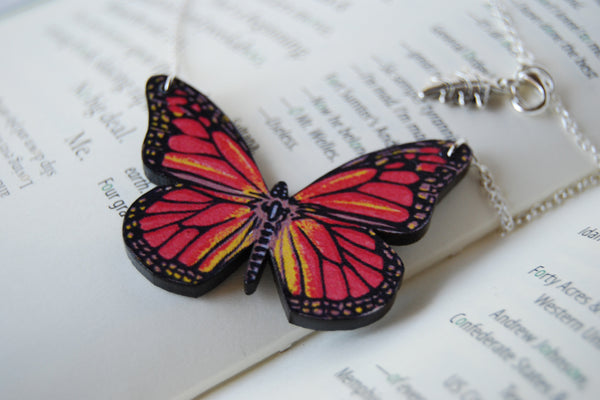 Monarch Butterfly Necklace | Butterfly Pendant | Forest Jewelry - Enchanted Leaves - Nature Jewelry - Unique Handmade Gifts