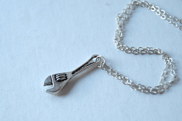 Little Monkey Wrench Necklace | Silver Wrench Charm Necklace | Tool Jewelry - Enchanted Leaves - Nature Jewelry - Unique Handmade Gifts