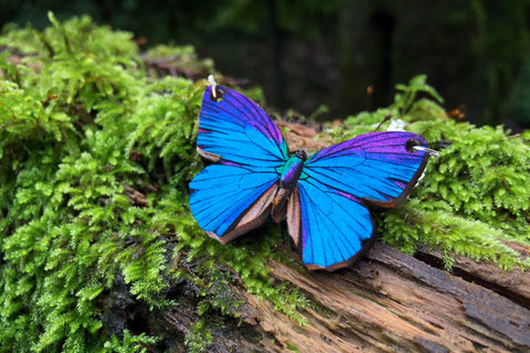 Blue Morpho Butterfly Necklace | Wooden Butterfly Pendant | Blue Butterfly Jewelry | Woodland Butterfly Art