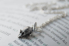 Teeny Tiny Mouse Necklace | Cute Little Silver Mouse Charm Necklace | Rat Necklace