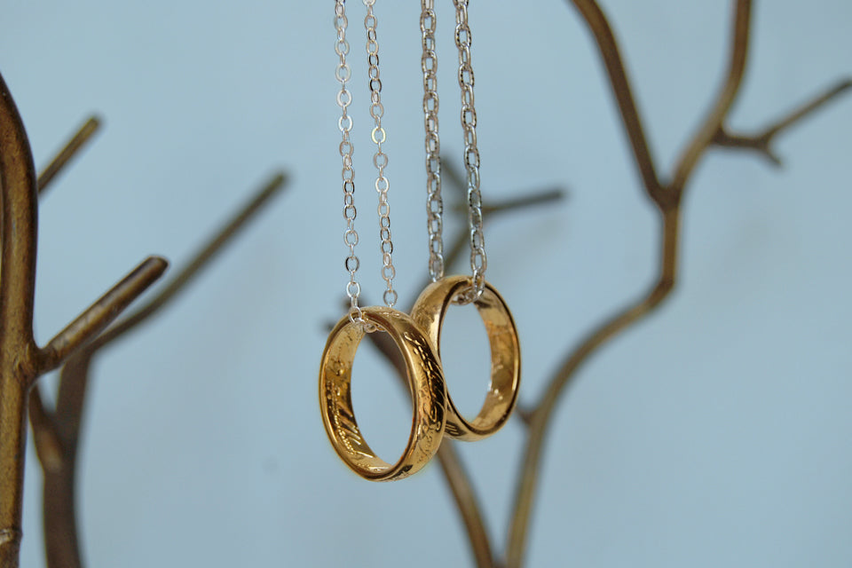 My Preciousss! | The One Ring Necklace | Lord of the Rings Necklace | Gold Ring of Power - Enchanted Leaves - Nature Jewelry - Unique Handmade Gifts
