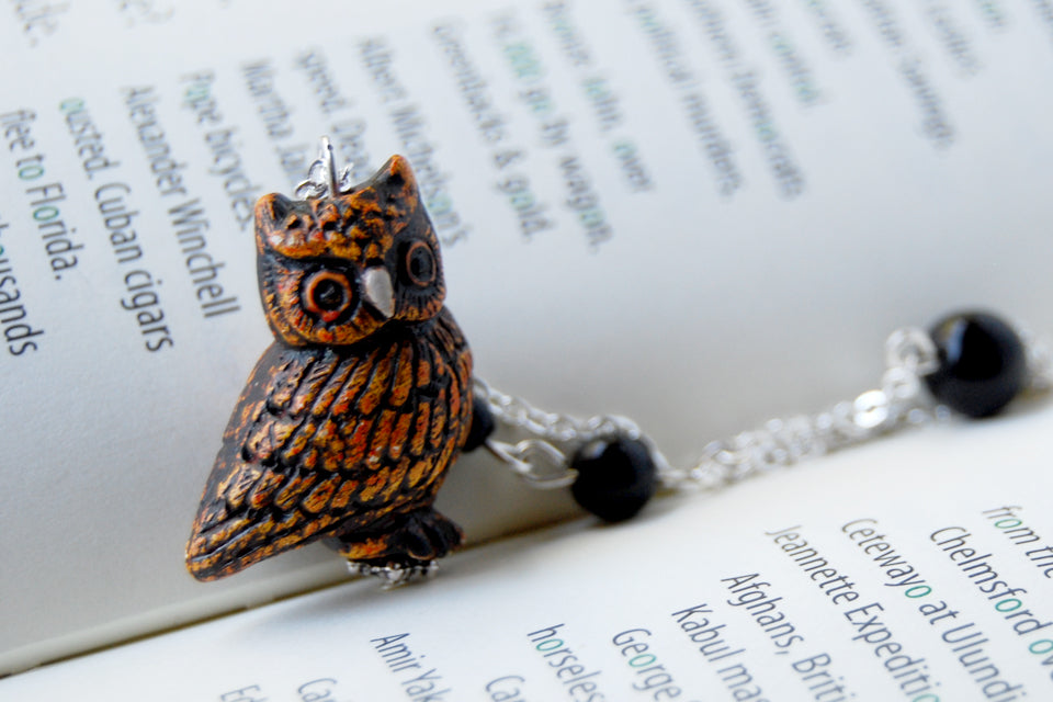 Night Owl Necklace | Handmade Owl Charm Necklace | Woodland Owl Pendant - Enchanted Leaves - Nature Jewelry - Unique Handmade Gifts