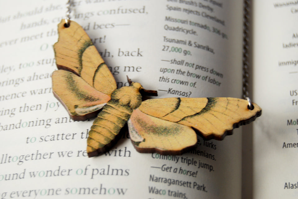 Oak Hawk Moth Necklace | Woodland Yellow Moth Necklace | Forest Moth Pendant - Enchanted Leaves - Nature Jewelry - Unique Handmade Gifts