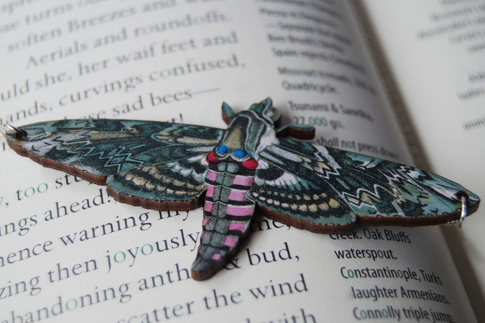 Pink Spotted Hawk Moth Necklace | Beauitful Moth Pendant | Wooden Moth Necklace - Enchanted Leaves - Nature Jewelry - Unique Handmade Gifts