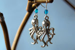 Octopus Earrings | Silver Octopus Charm Earrings | Nautical Jewelry - Enchanted Leaves - Nature Jewelry - Unique Handmade Gifts