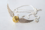 Open at the Close | Golden Snitch Necklace | Harry Potter Necklace - Enchanted Leaves - Nature Jewelry - Unique Handmade Gifts