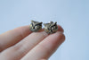 Owl Stud Earrings | Brass Owl Earring | Woodland Forest Jewelry - Enchanted Leaves - Nature Jewelry - Unique Handmade Gifts