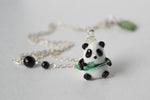 Panda Necklace | Cute Glass Panda Charm Necklace | Wildlife Jewelry - Enchanted Leaves - Nature Jewelry - Unique Handmade Gifts