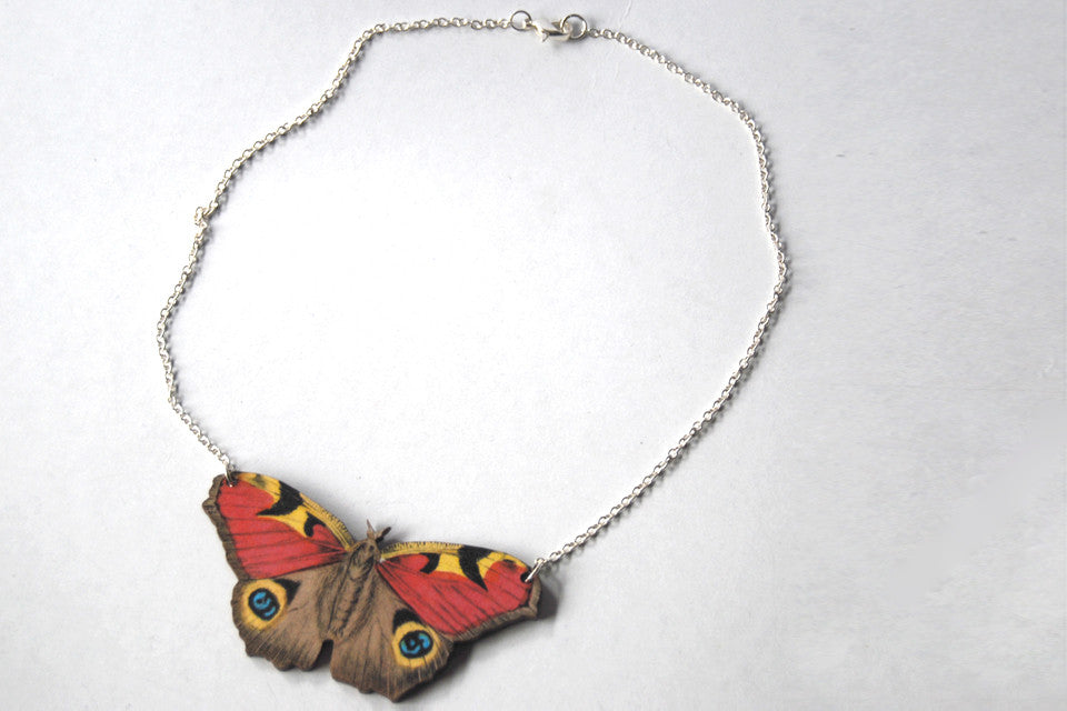 Peacock Butterfly Necklace | Woodland Butterfly Pendant | Butterfly Jewelry - Enchanted Leaves - Nature Jewelry - Unique Handmade Gifts