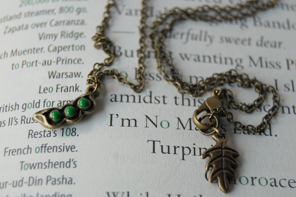 Three Peas in a Pod Necklace - Enchanted Leaves - Nature Jewelry - Unique Handmade Gifts
