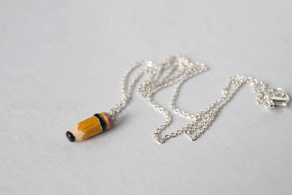 Teeny Tiny Pencil Necklace - Enchanted Leaves - Nature Jewelry - Unique Handmade Gifts